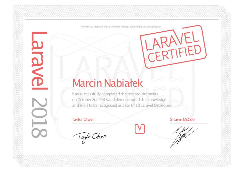 Marcin Nabiałek - Laravel Certified Developer